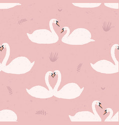 seamless pattern with white swans swan s couples vector image