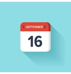 September 16 Isometric Calendar Icon With Shadow vector image