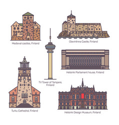 set isolated architecture monuments finland vector image