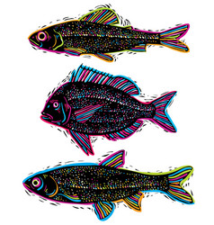 Set of drawn fishes different underwater vector