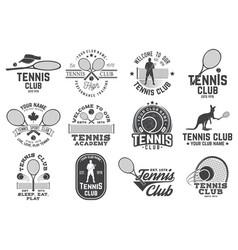set of tennis club badges vector image