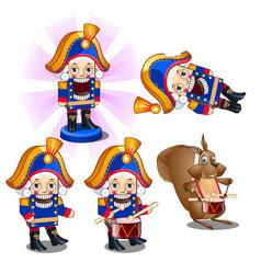 set traditional christmas figurines nutcracker vector image