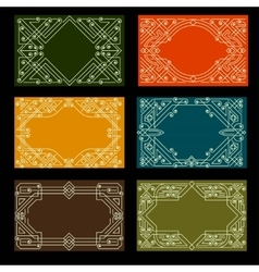 Set visit card designs with ornate frames vector