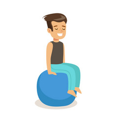 Smiling boy sitting on a pilates ball colorful vector
