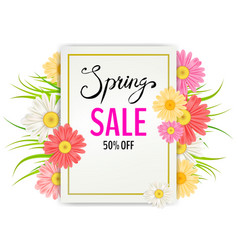 Spring sale banner hand drawn lettering vector