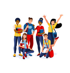 Students academy working for diploma vector