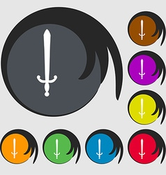 sword icon sign Symbol on eight colored buttons vector image