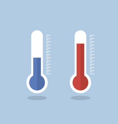 Thermometer icon measuring hot and cold vector