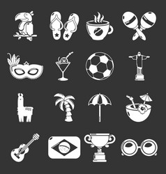 travel brazil icons set grey vector image