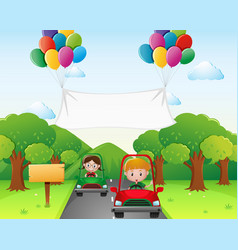 two kids driving car in the park vector image