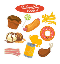 Unhealthy food poster or fast food and fat eating vector