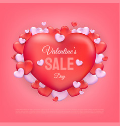 valentines day sale text with red and pink hearts vector image