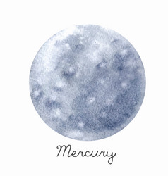 Watercolor mercury planet vector