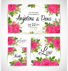 wedding floral template invite vector image