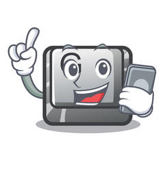 with phone button g isolated in cartoon vector image