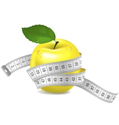 Yellow apple with measuring tape vector image