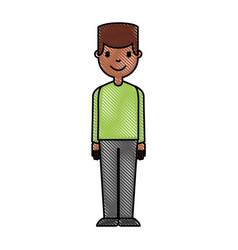 Young man black avatar character vector
