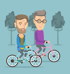 happy senior friends riding on bicycles in park vector image vector image