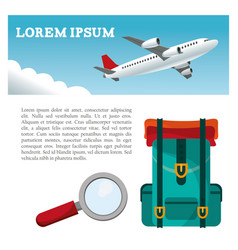 travel airplane backpack search flyer vector image vector image