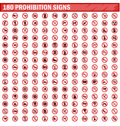 180 prohibition signs set vector image