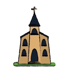 church building religious christian sketch vector image vector image