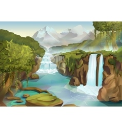 Forest and waterfall landscape vector image