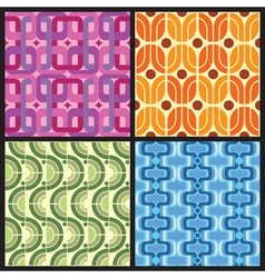 four retro style colorful patterns vector image vector image