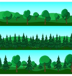 Horizontal cartoon banners of hills and trees vector image vector image