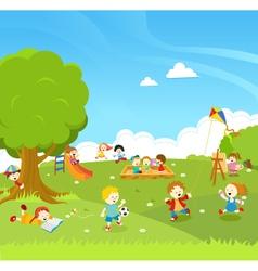 Kids Playing At PArk vector image vector image