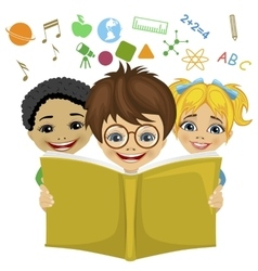 Kids reading a book with education related icons vector image vector image