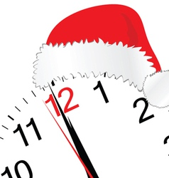 new year 2012 with clock and red hat vector image