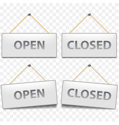 open closed signs isolated on white vector image