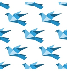Origami pigeons and doves seamless pattern vector image