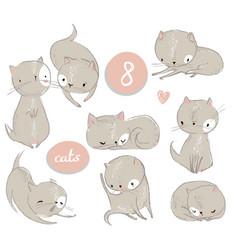 set with cute cartoon kitten vector image