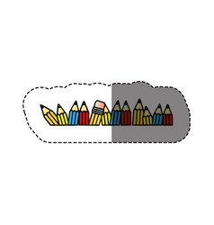 sticker silhouette with colored pencils row vector image vector image