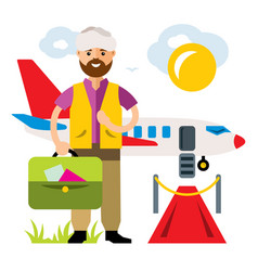 airport landing on the flight flat style vector image
