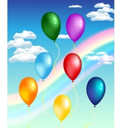 balloons with rainbow vector image vector image