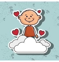 boy cloud heart love vector image