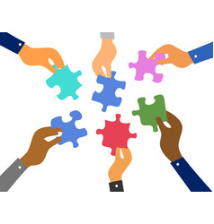 business teamwork jigsaw puzzles concept vector image