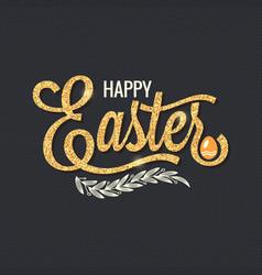 easter vintage gold lettering design background vector image vector image