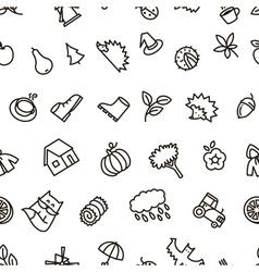 Fall season balck and white cute seamless pattern vector image