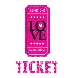 pink love ticket vector image vector image