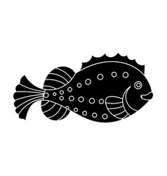 sea fish icon in black style isolated on white vector image vector image