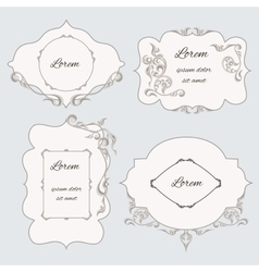 Set vintage ornamental frame labels vector image vector image