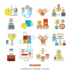 Teamwork Line Icon Set vector image