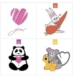Drawn cute animals vector image vector image