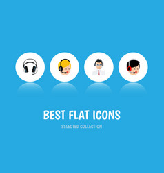 flat icon center set of help earphone operator vector image