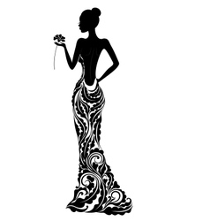 Girl in a dress with floral ornament vector image