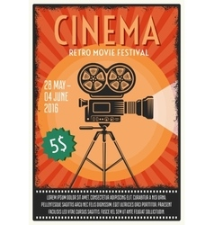 Retro Movie Festival Poster vector image vector image