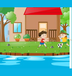 scene with two boys playing soccer vector image vector image